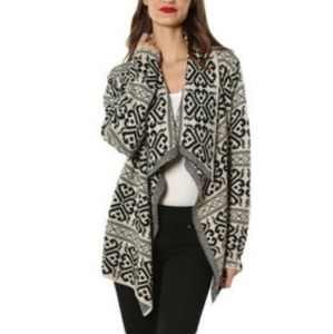 Cozy Casual Black/Tan Printed Cardigan S/M